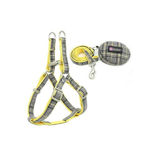Arnés para perro suave para mascotas, arnés ajustable de nailon Chihuahua arnés chaleco correa para perros pequeños y medianos gatos productos para mascotas, color amarillo-S-1.0 cm