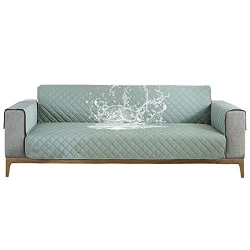 Carvapet Sofabezug wasserdichte Sofaüberwurf Antirutsch Sofahusse Schutz vor Haustier Katze Hunde Sofa überwurf Couch überzug für Sofa (Hellgrün, 2 Sitzer)