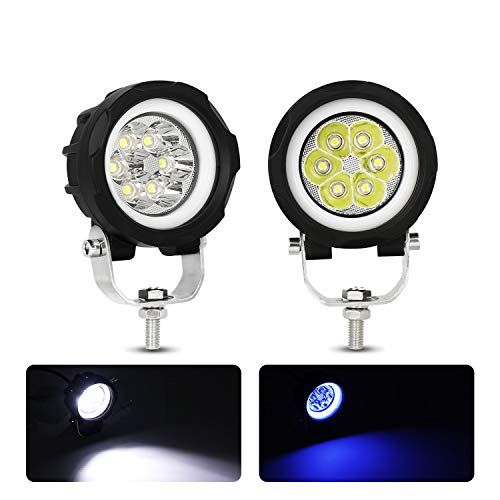 EBESTauto Compatible for Motorcycle Headlight LED Fog Light 3 inch Round Blue Angel Eye DRL White Light 10-80V DC 8000LM Waterproof Off-road Vehicle Marine Work Light (2 PCS)