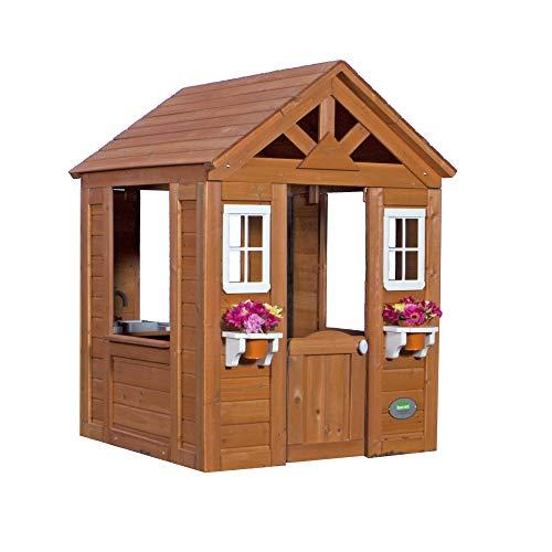 Backyard Discovery Spielhaus Timberlake aus Holz | Outdoor Kinderspielhaus für den Garten inklusive Zubehör | Gartenhaus für Kinder mit Fenstern