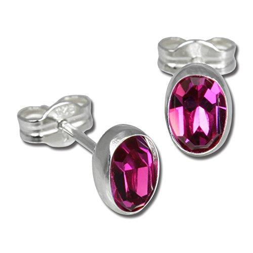 SilberDream Ohrringe Damen 925 Silber Ohrstecker oval Zirkonia pink SDO552P