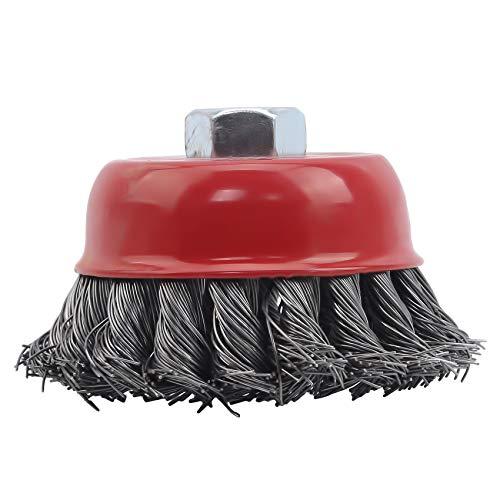 Schwenly Drahtbürstenkopf für Winkelschleifer Grass Trimmer Bowl Cup Brush Clean Tool,Draht verdrillter Draht,3 Zoll