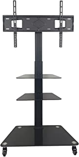 RAKU テレビスタンド 回転キャスター付き 32-65インチ対応 ストップ機能付き 耐荷重40kg 6段高さ調整可能 ハイタイプ ロータイプ調節 壁寄せテレビスタンド テレビ台 ケーブル収納 強化ガラス 棚板付き 移動式 円滑な安全エッジ 安...