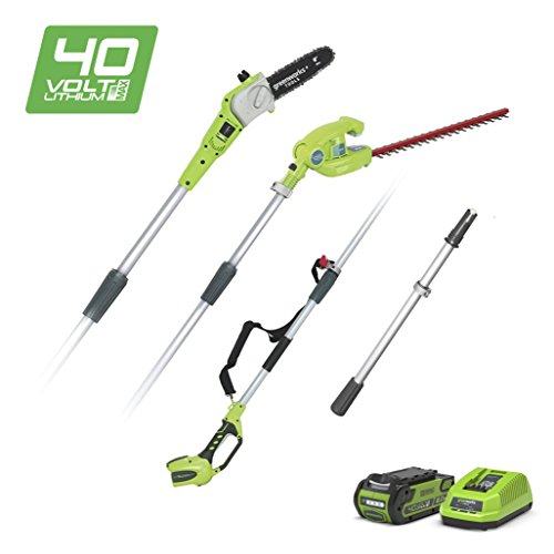 Greenworks Tools Cordless Pruner and Telescopic Hedge Trimmer 2-in-1 G40PSHK2 (Li-Ion 40 V 51 cm / 20 cm Cutting Length 18 mm Cutting Thickness 240 cm Telescopic Pole incl. 2 Ah Battery and Charger)