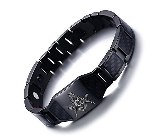 VNOX Herren Edelstahl Carbon Fiber Free Mason 4 in 1 Magnetische Therapie Heilung Freimaurer Armband