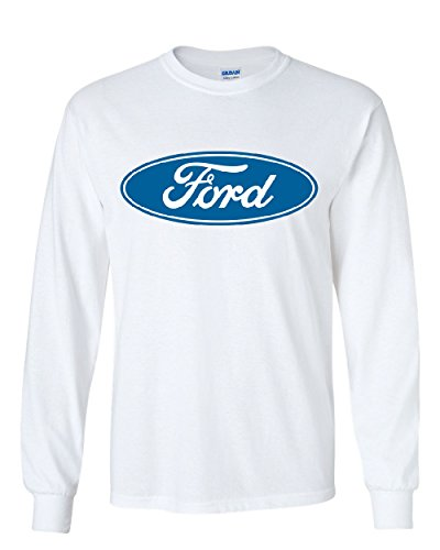 Licensed Ford Logo Long Sleeve T-Shirt Truck Mustang F150 Muscle Car White XL