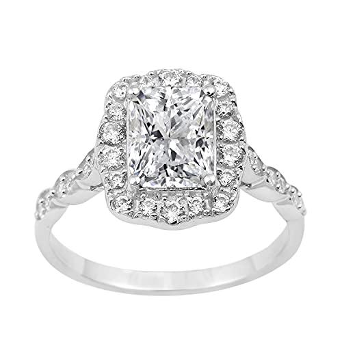Joya brillante Promesa de diamante simulado de 2.5 CT aureola Anillo Chapado en rodio 925 Regalo de joyería de piedras preciosas de plata esterlina para mujer (17)