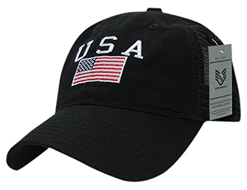 Rapiddominance Relaxed Trucker USA Cap, Black