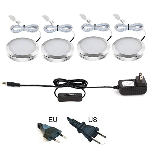 ELEDISON (4-Pack) LED Under Cabinet Lighting Kit with US Plug On/Off Switch, 3W/LED Puck Lights, Under Counter Lighting, All Accessories Included