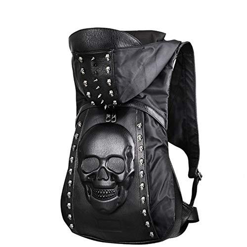 GHH Leder Rucksack 3D Rivets Schädel Rucksack Mit Kapuze Cap Hip Hop Stil Männer Mehrzweck-Wander Daypack Schule Laptop-Tasche,Skull