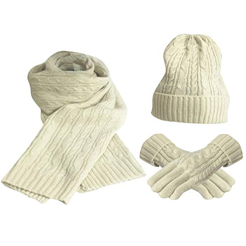 FEOYA Damen Stricken Mütze Schal Handschuh Set Wolle Dicke Beanie Schlauchschal für Herbst Winter