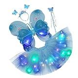 ABOOFAN Luz LED para Niños Alas de Ángel Mariposa Que Brillan en La Oscuridad Tutú Vestido de Hada Varita Diadema Conjunto de Disfraz Alas de Princesa Hada Accesorios de Disfraces Azul