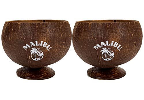Malibu echte Kokosnuss Kokos Coconut Cocktail Becher - 2er Set