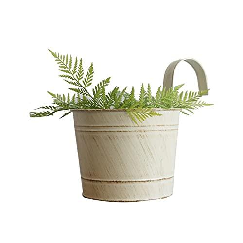 INIFLM 2 macetas colgantes vintage con gancho, macetas de jardín pequeñas para balcón, cubeta de metal retro para colgar en la pared, ideal para plantas y flores en el hogar (blanco)