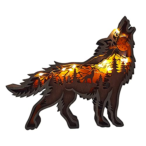 Holz-Wolf-Totem mit LED-Lichterkette, 3D-Aushöhlung, Holzschnitzkunst, Waldwandkunst, Heimdekoration, Tierfiguren, Wandbehang, Ornamente, Schreibtisch-Dekorationen