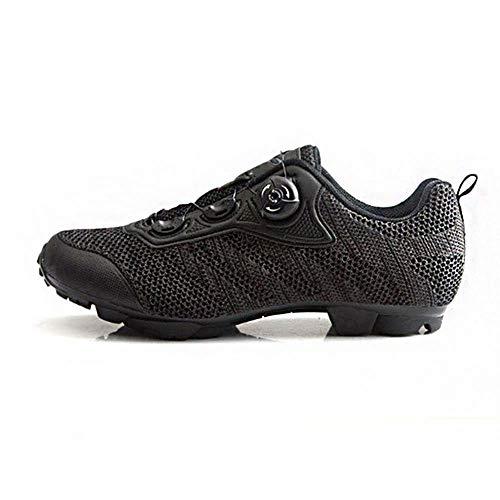 GET Zapatillas de Ciclismo MTB para Hombre con Tacos, Zapatillas de Bicicleta de Montar Autoblocantes de Bicicleta de Montaña Transpirables y Ligeras (Color : Negro, Shoe Size : UK-9.5/EU44/US-10.5)