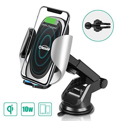 Oasser Wireless Car Charger KFZ Induktions Ladegerät Handyhalterung für iPhone 8/8p/XS/X Samsung S9/S9+/Note 8/S8 alle Qi Fähige Geräte Verpackung MEHRWEG