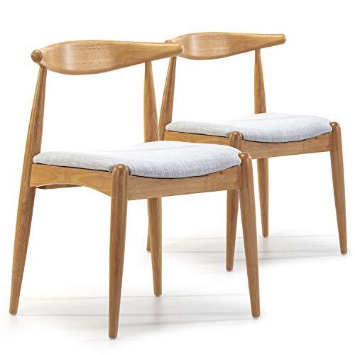VS Venta-stock Pack 2 sillas Corzo Color Roble, Madera Maciza, 52,5 cm (Largo) 50 cm (Profundo) 74,5 cm (Alto)