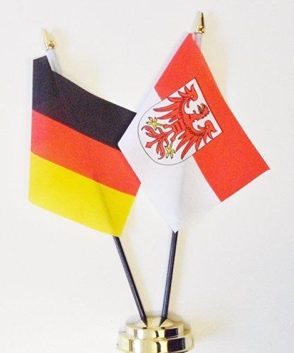 Deutschland und Brandenburger State Freundschaft Tisch Flagge Display 25cm (25,4cm)