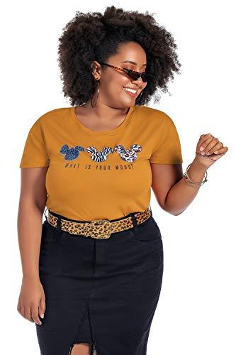 Blusa Feminina Plus Size com Estampa Animal Print Disney Amarelo, EM