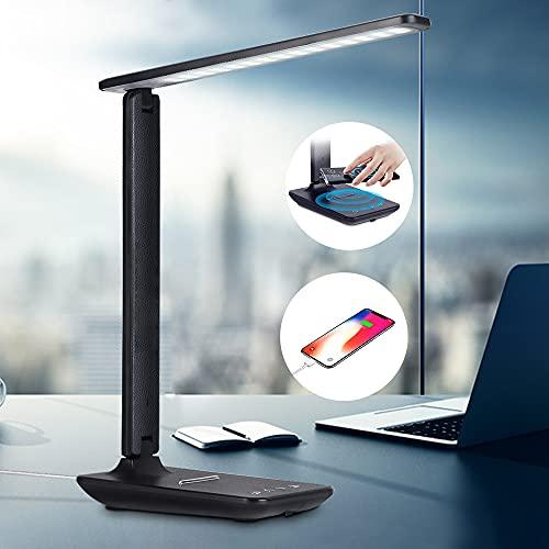 Schreibtischlampe LED, Kabelloses Laden Büro Tischlampe Berührungssteuerung Dimmbar Tischleuchte 3 Farb 5 Helligkeitsstufen Bürolampe LED Tageslichtlampe mit USB Ladeanschluss für Smartphones, Schwarz