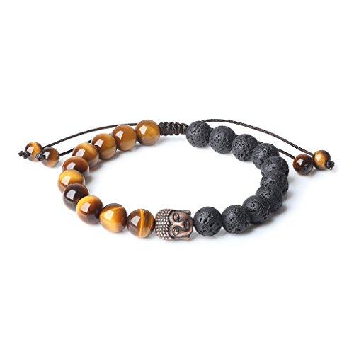 COAI 8mm Mala Prayer Beads Brown Tiger Eye Lava Stones Bracelet for Yoga Meditation