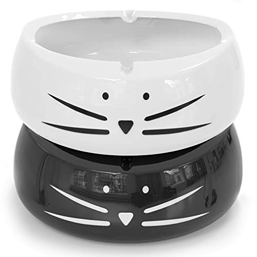 Koolkatkoo Funny Black and White Ceramic Cat Ashtray Set for Girls Women Men Unique Porcelain Ashtrays Indoor Or Outdoor Ash Tray