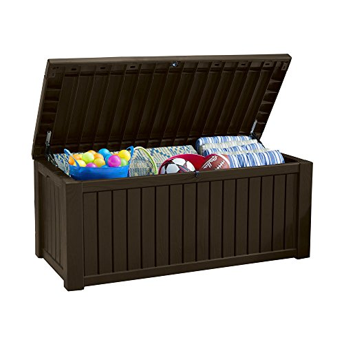 Koll Living Auflagenbox/Kissenbox 570 Liter l 100% Wasserdicht l mit Belüftung dadurch kein übler Geruch/Schimmel l Moderne Holzoptik l Deckel belastbar bis 250 KG (2 Personen) (Braun)