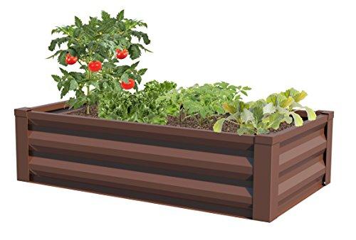 "Greenes Fence Powder-Coated Metal Raised Garden Bed Planter 24"" W x 48"" L x 12"" H"