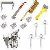 Ohomr Apicultura Fuentes Herramientas Kit de Accesorios Conjunto de la Colmena de Starter Kit Apicultor con la Colmena Fumador Cepillo raspador 14PCS