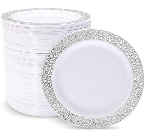 100pcs Plastic Disposable Silver Dinner Plates, 10.25' Big Party Pack Plastic Dinner Plates, Plastic Plates for Party or Wedding, Plastic White Plates with Silver Trim