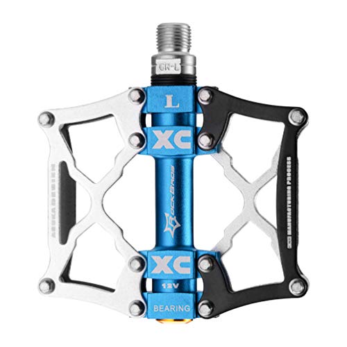 ROCKBROS Mountain Bike Pedals Platform Cycling Sealed Bearing Alloy Flat Pedals 9/16' (Black Silver)
