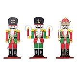 STOBOK 3 Piezas de Adornos de Cascanueces de Navidad de Madera Marionetas de Soldado de Nuez Estatuillas Estatua de Nogal Pintada a Mano para Decorar La Fiesta de La Habitación de Los