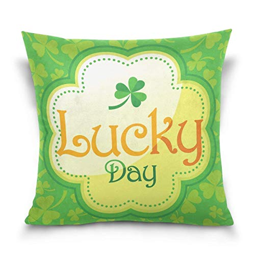 But why miss Throw Pillow Case Decorative Cushion Cover Square Pillowcase, Happy St Patrick Lucky Day Irish Shamrock Sofa Bed Pillow Case Cover(18x18inch) Twin Sides