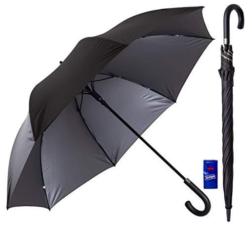 Regenschirm groß 120cm Durchmesser XXL Schwarz Automatik Reise Golf Schirm für Herren Gentlemen Sturmfest Windsicher Leicht Klassisch 54inch groß für 2 Personen Stabil 3 Exklusive Gentleman Designs