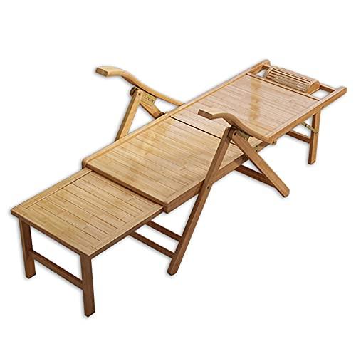 Tumbonas Sillas Mecedoras 3 en 1 Bambú Silla Reclinable Plegable, de Gran Tamaño Sillas Patio con Apoyabrazos/Pedal Telescópico, Balcón Sala Cuarto