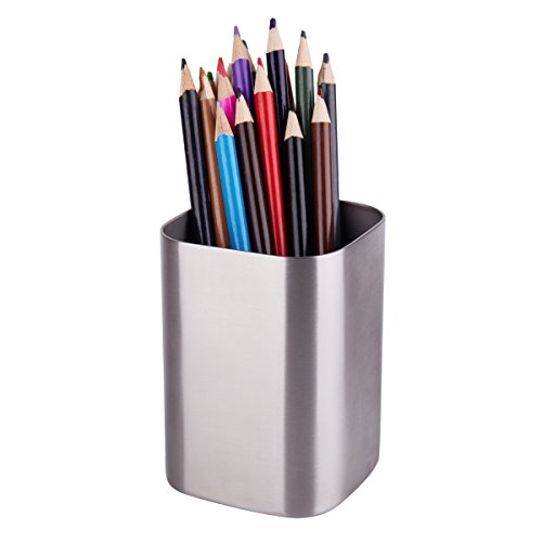 IMEEA Pen Pencil Holder Makeup Brush Holder 1.2mm Thick Heavy Duty SUS304 Brushed Stainless Steel (Silver)