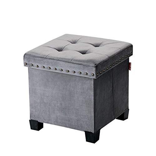 Tabouret De Rangement Repose-Pieds Ménage Pliage De Tissu, Salon Chambre L38xW38xH37cm (Color : Gray)