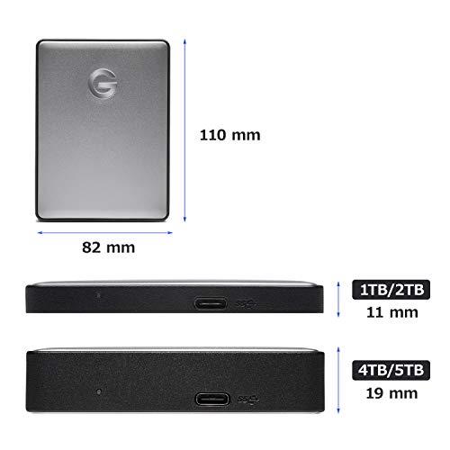 G-TechnologyポータブルHDD5TBスぺースグレイG-DRIVEMobileUSB-C3年保証0G10477