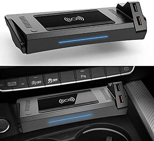 Caricatore Wireless Auto per Audi A4 2019-2021 A5 2020 2021 S4 S5 2021 RS4 RS5 2019 2021 Pannello Accessori Console Centrale 15W Rapida Ricarica Telefono Pad con QC3.0 USB per iPhone Samsung