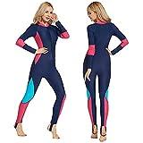FR&RF Traje de neopreno de manga larga para mujer, de lycra, de una pieza, de pesca submarina para surf, cuerpo completo, equipo de buceo y buceo, traje mojado, XL
