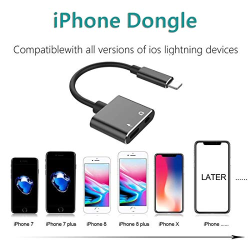 Headphone Adapter for iPhone Aux Audio to 3.5 mm Jack Adapter 2 in 1 Audio&Charge for iPhone Xs/Xs Max/XR/ 8/8 Plus/X (10) / 7/7 Plus/11 Pro,Earphone Dongle Spiltter Accessorie Support All iOS System