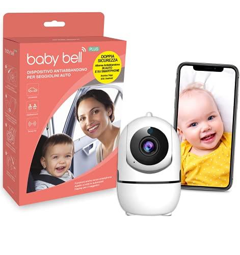 SICURO Kit anti abbandono in auto e a casa: dispositivo anti abbandono Baby Bell PLUS + telecamera intelligente di sorveglianza interno wifi iCam HD 1080p