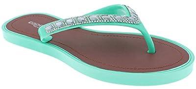 Capelli New York Ladies Fashion Flip Flops with Rhinestone and Gem Trim Mint 10