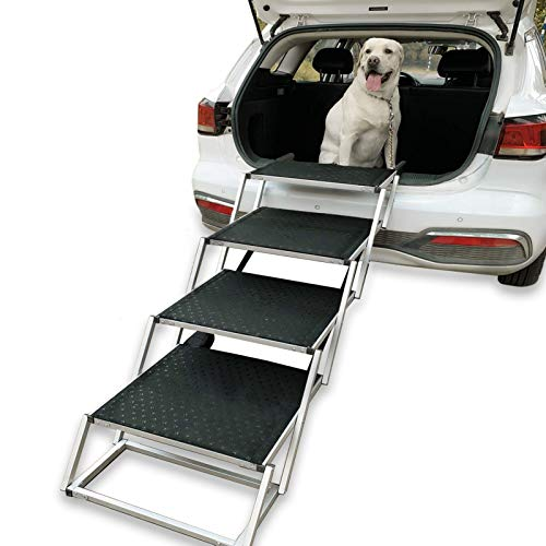 Widen Foldable Dog Car Stairs, Aluminum Frame 4 Steps Portable &Lightweight Pet Stairs, The Widest and Deepest Ladder on The Market, Nonslip Pet Ramp for Cars, Trucks and SUVs, Support 150 to 200 lbs