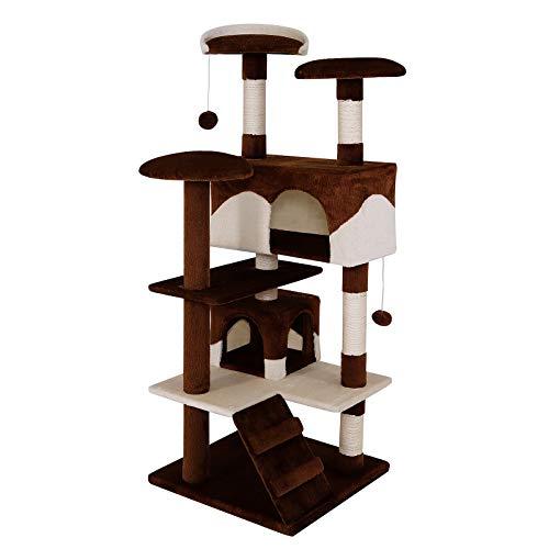 dibea Árbol rascador árbol para escalar árbol rascador para gatos Altura 130 cm marrón/beige