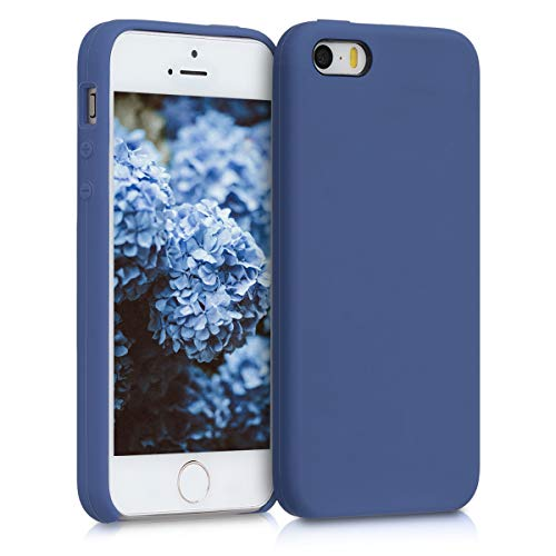 kwmobile Funda Compatible con Apple iPhone SE (1.Gen 2016) / 5 / 5S - Funda Carcasa de TPU para móvil - Cover Trasero en Azul violáceo