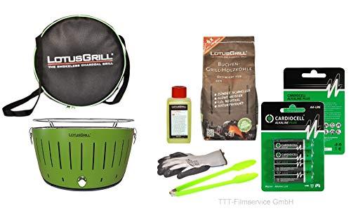 Lotusgrill Premiumset 1 Grill mit USB Anschluß, 1x Grillhandschuh, 1x Buchenholzkohle 1 kg, 1x Brennpaste 200ml, Vorratspack Batterien AA, 1x Transporttasche raucharm Grillen (Limetten Grün)