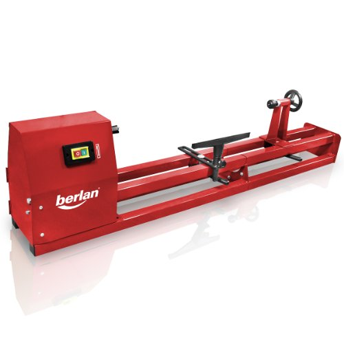 Berlan Tornio elettrico per legno e da banco con potenza da 350 watt e velocità regolabile su 4 livelli - per tornitura, intaglio, foratura, fresatura di pezzi da 1000 mm max.