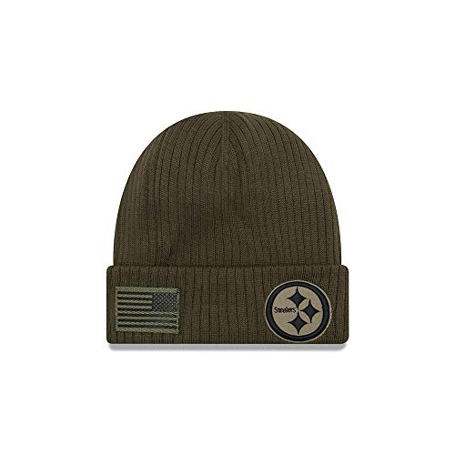 New Era Pittsburgh Steelers Beanie On Field 2018 Salute to Service Knit Green -...